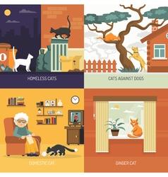 Breed cats 2x2 design concept vector