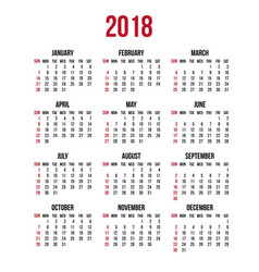 calendar 2018 year week starts sunday us vector image