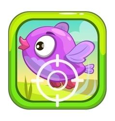 Cartoon app icon with funny bird vector image vector image