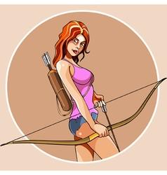 Cartoon girl with bow and arrow vector