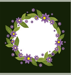 circle frame made of flowers spring and vector image vector image