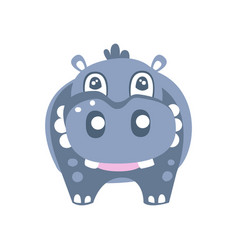 Cute cartoon hippo character posing vector