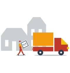 Delivery service company truck transportation vector image vector image
