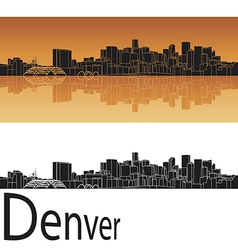 Denver skyline in orange background vector