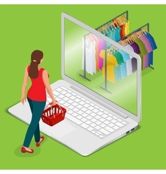 E-commerce pay on-line and on-line shopping vector image