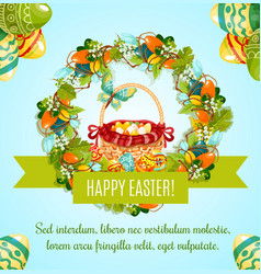 Easter egg hunt basket with flowers greeting card vector