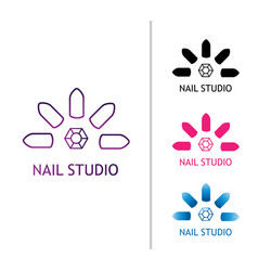 Fashion nails studio logo for the beauty salon vector
