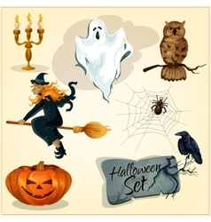 Funny creepy decoration elements for halloween vector