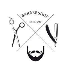 hand drawn barbershop logotype template vector image