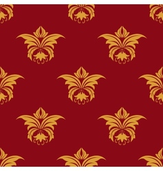 Maroon and yellow seamless floral pattern vector image