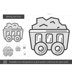 Mining cart line icon vector image