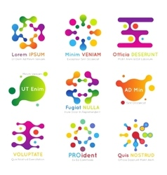 Molecular business logo set vector image vector image