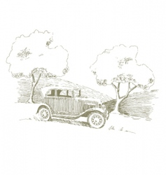 old car scene vector image vector image