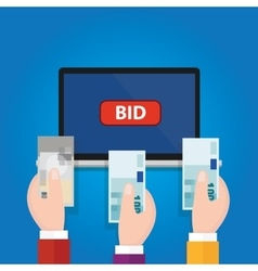 Online bidding auction laptop bid button hand vector