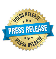 Press release round isolated gold badge vector