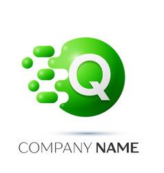 Q letter splash logo green dots and circle bubble vector