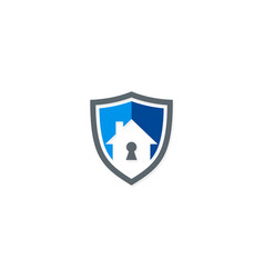 Secure house shield logo vector
