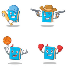Set of blue book character with baseball cowboy vector