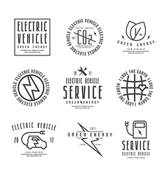 Set of electric car labels vector