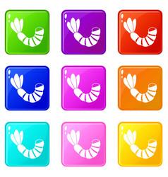 Shrimp icons 9 set vector