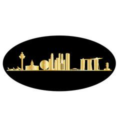 Singapore city skyine gold vector