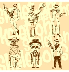 Skeletons - gangsters set Vinyl-ready vector image