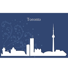 Toronto city skyline on blue background vector