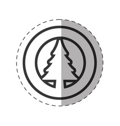 Tree pine christmas symbol line vector