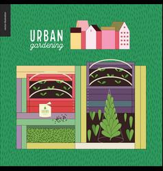 Urban farming and gardening - seedbeds vector