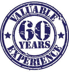 Valuable 60 years of experience rubber stamp vect vector