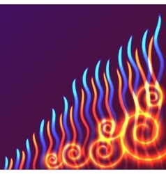 Yellow red and blue waves of flame vector