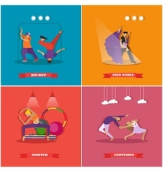 People dancing in different styles breakdance vector