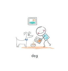 A man feeds the dog vector image