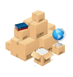 Moving concept with a pile of cardboard boxes vector