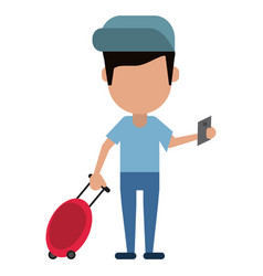 Man traveling passport dragging luggage vector