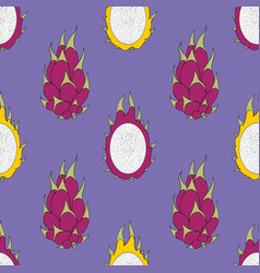 Pitaya exotic fruit seamless pattern vector