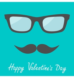 Mens glasses and moustache happy valentines vector