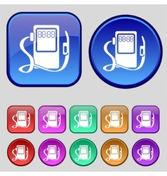 Gas fuel station sign icon symbol Set of colored vector image