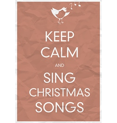 Keep calm and sing christmas song vector