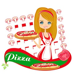 Sweet girl serving pizza vector