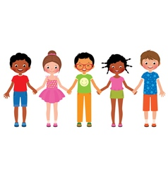 Children friends holding hands isolated on white vector