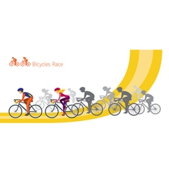 Bicycle race men and women riding road bikes vector