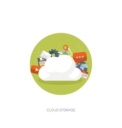 Flat cloud computing vector