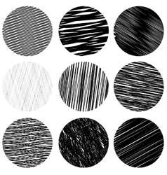 Set of black diagonal strokes patterns sketch vector
