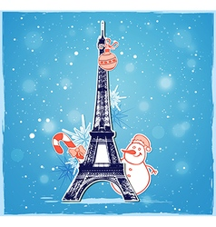 Christmas background with eiffel tower vector