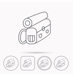 Backpack icon travel equipment sign vector
