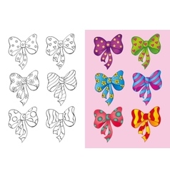 Coloring book of set different bows vector