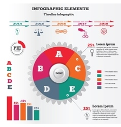Infographics elements set pie chart and timeline vector