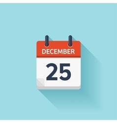 December 25 flat daily calendar icon vector image