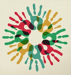Diversity group of hands teamwork color concept vector